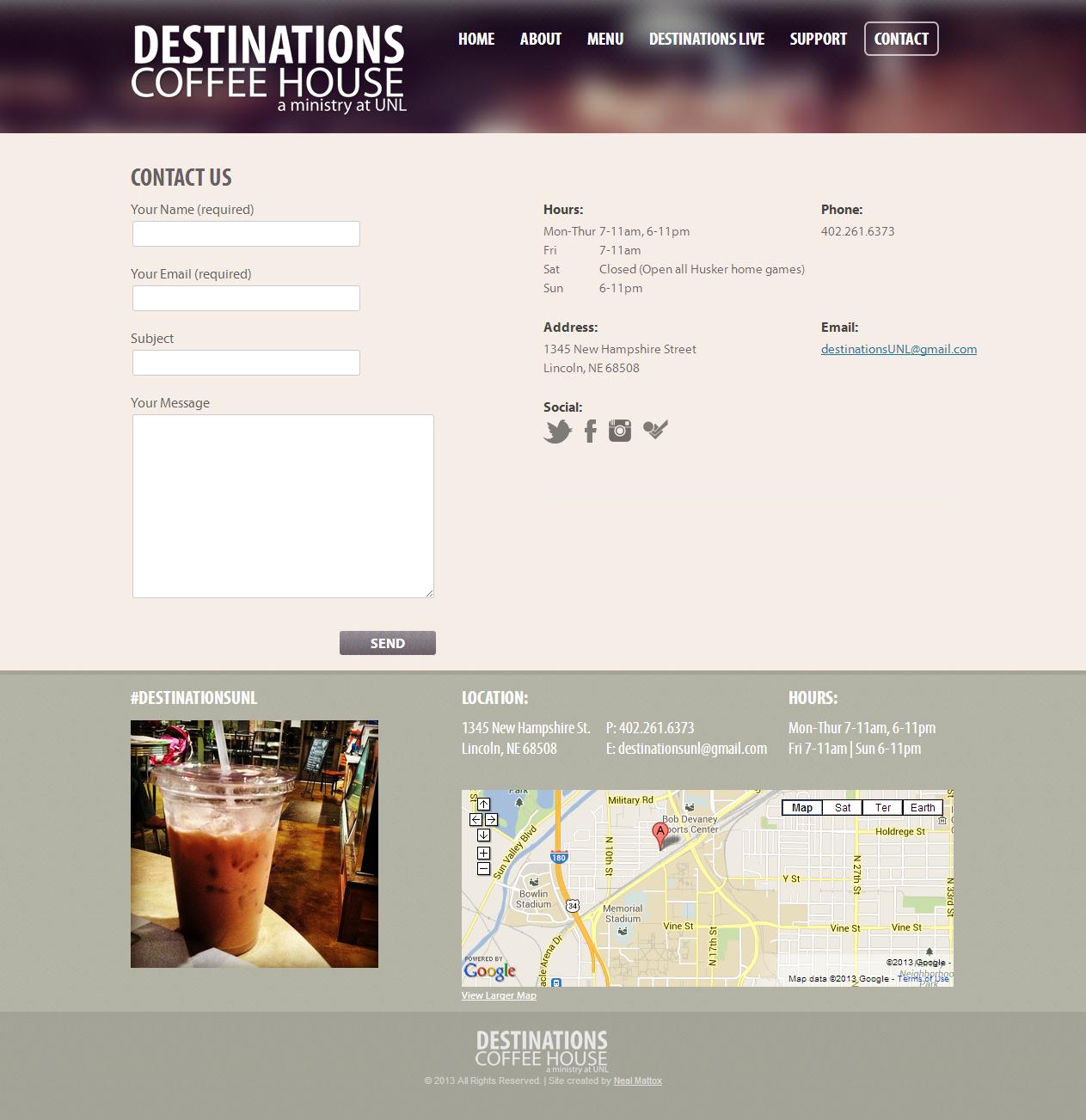 Contact - Destinations Coffeehouse - Lincoln, NE