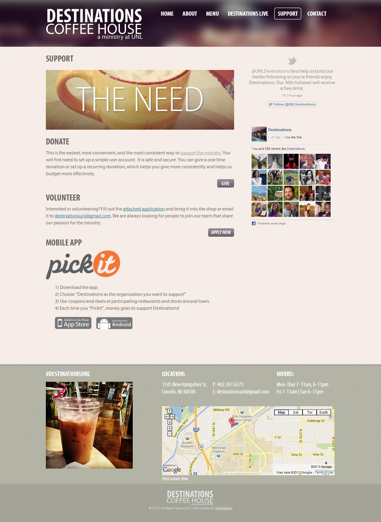 Support - Destinations Coffeehouse - Lincoln, NE